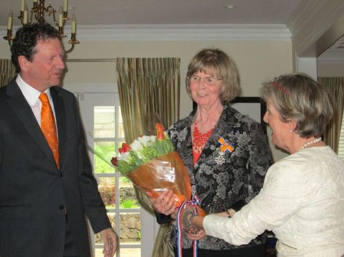 Edie receiving Knight in the Order of Orange-Nasssau award - April 26th 2014